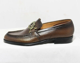 Size 1 Boys Shoes - Authentic 1960s Brown Leather Loafers - Child Size 1D - Boy's Loafer - Chunky Mod Buckle - Deadstock in Box - 45946-5