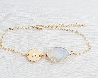 Gold Plated Monogrammed Bracelet & Opalite Stone, Opal Bracelet, Women's Initial bracelet, Unique Gifts for Women, Initial Bracelet