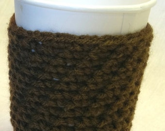BROWN Insulated Cup Cover, Handmade, Crochet, Can, Glass, Grande Coffee Cup Cozi fits Peets and Other Coffee Shop Cups,Paper, Styrofoam