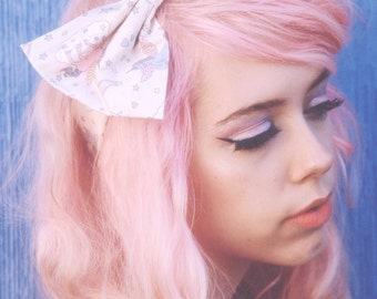 Cream Unicorn Bow Headband, Unicorn Headband, Cute Kawaii Rainbow Unicorn Hair Accessory