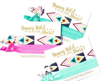 Young Wild & Three Birthday Baja Party Hair Tie Favors   Mexican Blanket Birthday Party Gift Hair Ties, Bohemian Baja Tribal Print Hair Tie