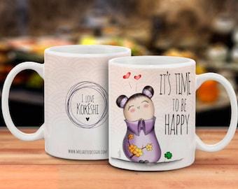 Cup/Mug with Kokeshi HAPPY illustration lilac dress