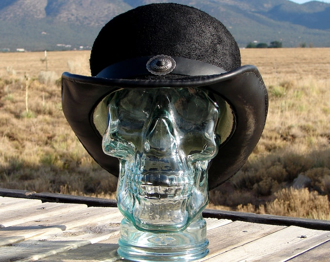 Black, Rough-Out, Low-Crown, Leather Topper, with Southwestern Style Concho Hatband