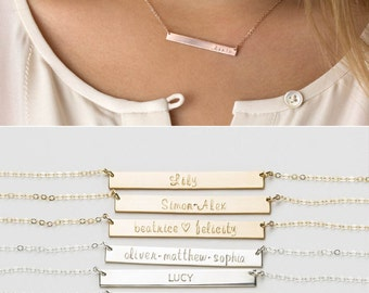 Mothers Necklace: Custom Kids Names, Children's Initials • Personalized Gift for Moms • Nameplate Necklace, Mother Gift Idea • LN140_35_H
