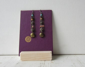 Purple Earring Display - Reversible Recycled Book Jewelry Display - Ready to Ship