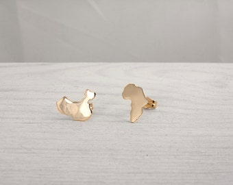 Gold Africa Map or Gold China Map 9kt  or 18kt solid gold, Africa Earrings, China Earrings Map, Personalized Studs in a kraft gift box with