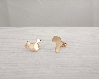 Gold Africa Map Earrings, Gold China Map Earrings, Solid Gold Earrings, Africa Earrings, China Earrings, Personalized Studs, Custom Jewelry