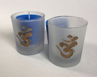 Om Etched Glass Votive Holder *DISCONTINUING*