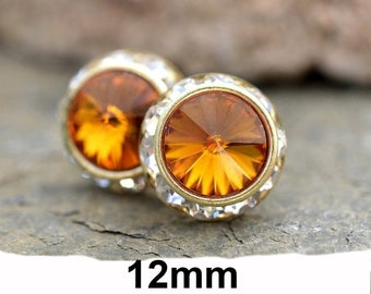 12mm Topaz and Gold Halo Rhinestone Stud Earrings, Topaz and Gold Crystal Studs, November Birthstone Studs
