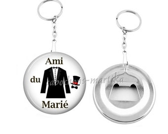 Keychain bottle opener friend of groom/wedding/gift