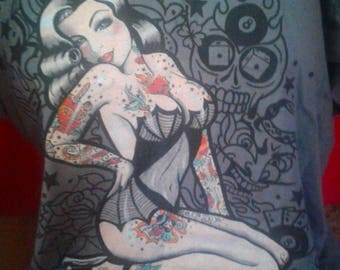 Tattooed Lady pin-up T-shirt