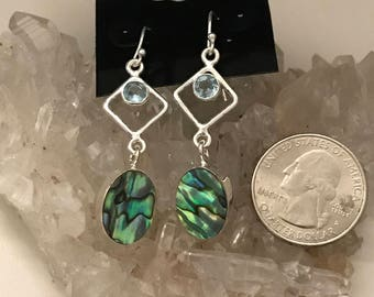 Abalone and Blue Topaz Earrings