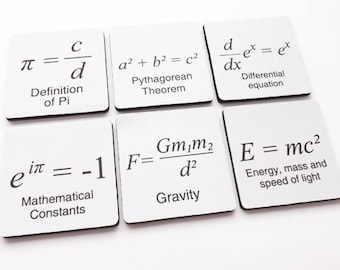 Math drink Coaster teacher stocking stuffer gift science Pi Day party favor home decor graduation back to school geek logic arithmetic