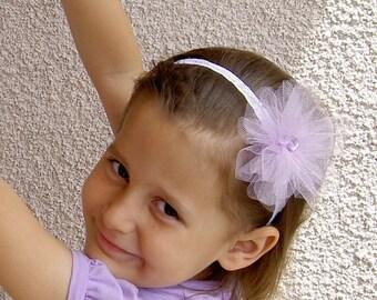 Tulle flower Headband - Flower Girl Headband - Flower Girl Hair Accessories - Tulle Headband - Flower Headband - Tulle Hairband