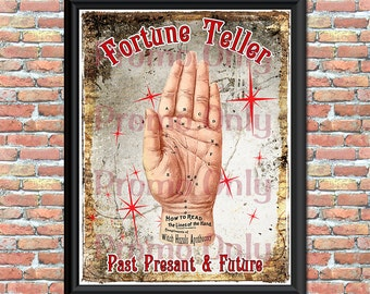 Fortune Teller Palmistry Art Print Digital Download Palm Reading Halloween Magic Wall Decor Home Decor Printable Original Art