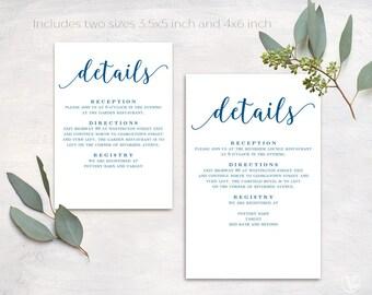 Navy Wedding Details Card, Printable Details Card Template, Simple Details Card, Information Card, D03
