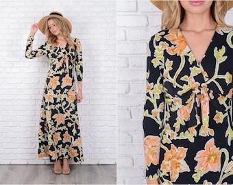 Vintage 60s 70s Black Mod Dress Vivid Floral Print Yellow Orange Plunging Small 11463
