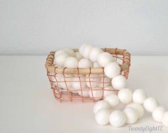 Felt Ball Garland - White or Ivory - Garland, Banner, Photo Prop, Felt Ball Banner, Wool Felt Balls, Kids Garland, Nursery Decor