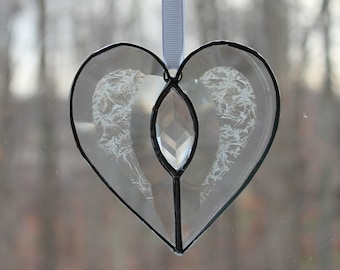 Beveled Stained Glass Heart, Clear Jewel, Glue Chip, Sun-catcher, Clear, Hand Crafted, Ready to ship!