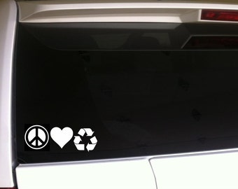 "Peace Love Recycle 7"" Vinyl Sticker Car Decal *F48 Green Reuse Reduce Environment Pollution Earth Day"