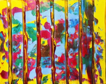 Small painting, painting on canvas, acrylic painting original, abstract painting, Free Shipping, Yellow, Red, Blue / SENTINELS #2