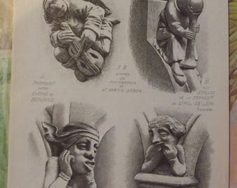 Ancient Architecture and Sculpture 1913 Marmouset Cathedral Gargoyle Monster scaffolding Castle Photo Documents Angel Holy sheep