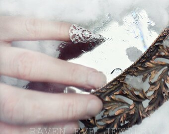Nail Ring Elegant Nail Jewelry Claw Nail Tip with Crystal Stone One Ring Your choice gold or silver tone