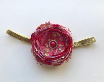 Birthday princess headband - red princess headband - red and gold headband - gold red princess headband