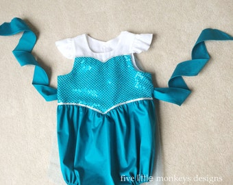 Elsa Costume - Elsa Baby Costume - Elsa Dress - Elsa Bubble Romper- Cotton Romper Bubble Romper