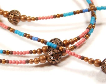 Blue, Pink and Copper Eyeglass Chain, Holder, Leash, Sunglasses, Reading glasses, Pink and Blue Seed Beads, Copper Filigree Beads, Handmade