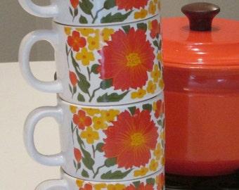 Stackable Orange Floral Coffee Mugs. Made in Japan