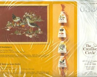 "1985 Sandpipers NIP DIY Needlework Embroidery Kit Designed by Jan Dalton 12"" x 16"" - Vintage The Creative Circle Kit 0326"