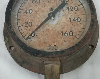 Vintage steam pressure gauge steampunk lamp industrial art