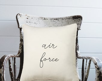 Air Force Script Pillow Cover IVORY