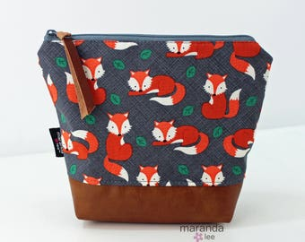 AVA Medium Clutch - Foxes with PU Leather READY to SHIp Cosmetic bag Travel Make Up Zipper Pouch