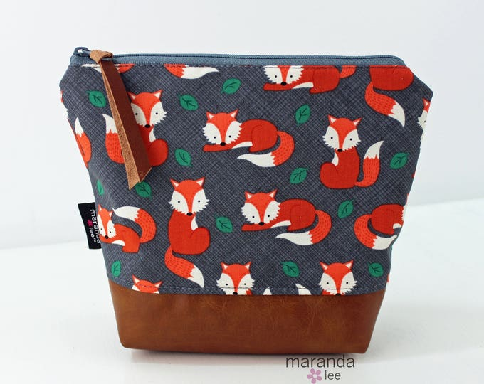 AVA Medium Clutch - Foxes with PU Leather READY to SHIp
