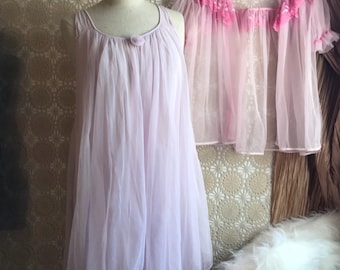 Vintage Nightgown Dressing Gown 1960's Babydoll Peignoir nightie Nylon Robe Sheer Lingerie pink pale purple lace