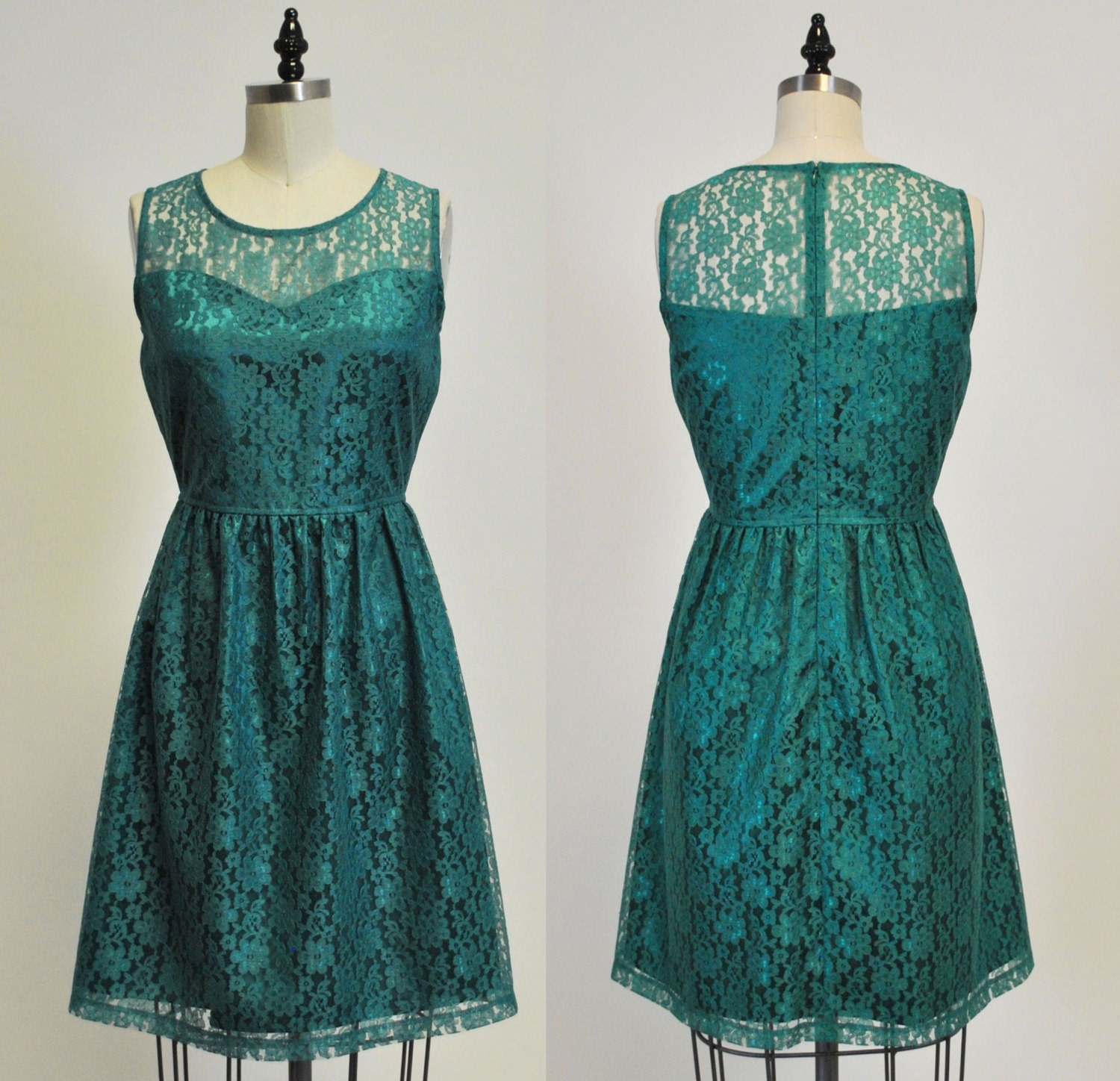 PROVENCE Jade : Jade green lace dress sweetheart neckline