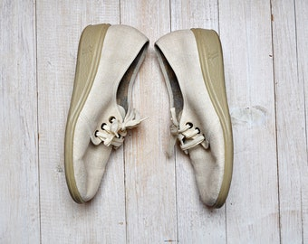 Vintage Off White Linen Wedge Sole Lace Up Oxford Shoes