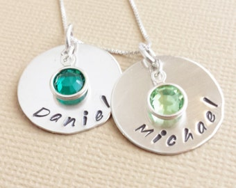 Mommy Necklace / Necklace for Mom / Necklace with Kids Names / Hand Stamped Jewelry / Personalized Necklace / Sterling Silver Jewelry