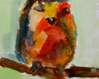 Original ACEO Watercolor Painting- Red Robin