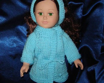 """18 Inch Doll Coat and Headband in Turquoise - American Made - Girl Doll Clothes - Knit Doll Clothes - For 18"""" Doll"""