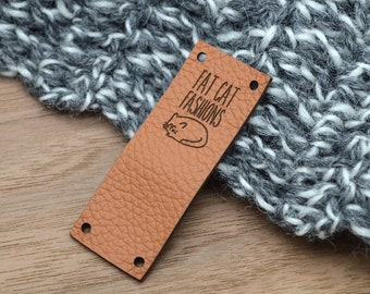 Leather labels .85x2.25 inches - Personalized , Leather tags , Custom Labels, Knitting Labels, Crochet Labels