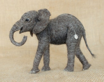 Made to Order Needle Felted African Elephant Calf: Custom needle felted animal sculpture