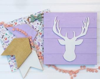 Baby Girl Nursery Set . Woodland Fawn . Deer Head . Antler Nursery . Arrows  . Lavender Nursery . Woodland . Boho Nursery . Baby Girl . Fawn