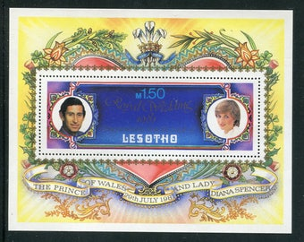 Lady Diana Royal Wedding Souvenir Sheet /Unused Issued  in Lesotho