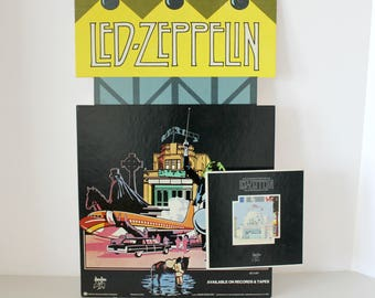 Led Zeppelin 1976 Song Remains The Same 3D Record Store Display, Rare Vintage 3-D Movie Soundtrack Advertisement