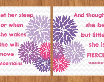 Let Her Sleep For When She Wakes And Though She Be But Little She is Fierce Lavender Pink Floral Chevron Nursery Wall Art Set of 2 8x10(134)