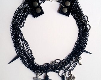 Upcycled Recycled Repurposed Cross Spiked Chain Necklace - Visual Kei Jewelry Visual Kei Necklace Goth Jewelry Goth Necklace Goth Fashion