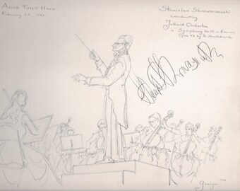 Stanislaw Skrowaczewski  original pen and ink illustration 9 x 12 Signed AUTOGRAPH  on heavy-weight sketch paper Cert of Auth